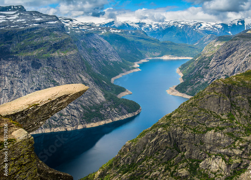 Amazing nature view with Trolltunga and beautiful lake. Norway