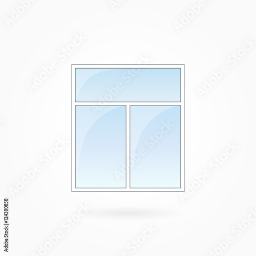 Window frame vector illustration, two-leaved square closed modern ...