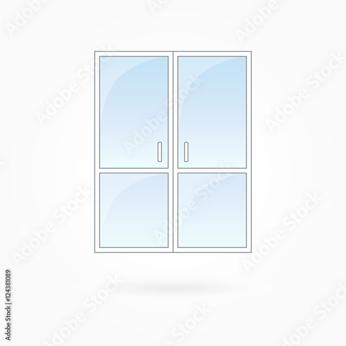 Door Frame Vector Ilration Twin Closed Doors With Two Vertical Halves White Plastic Blue Sky Gl Outdoor Objects Collection Flat Style