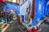 Fototapeta Fototapety na drzwi - Color image of a street inthe famous blue town Chefchaouen, Morocco.