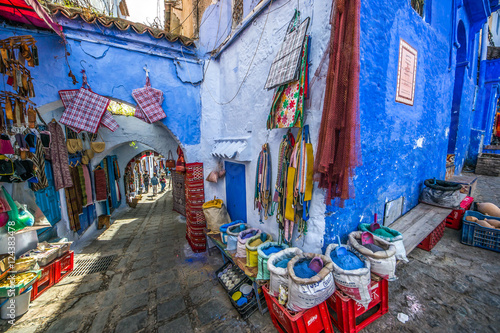 Canvas Prints Morocco Color image of a street inthe famous blue town Chefchaouen, Morocco.