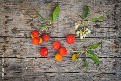 Delicious fresh arbutus fruits Wallpaper Mural