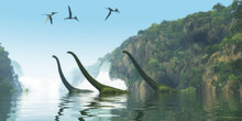 Mamenchisaurus Dinosaur Foggy Day - Two Mamenchisaurus Dinosaur Adults Escort A Youngster Across A River As Pterodactylus Birds Search For Fish Prey.