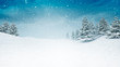 Leinwanddruck Bild - snow covered calm winter landscape at snowfall