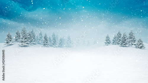 Spoed Foto op Canvas Wit snow covered open winter landscape at snowfall