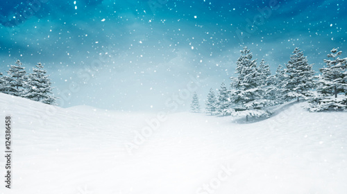 Canvas Prints White snow covered calm winter landscape at snowfall