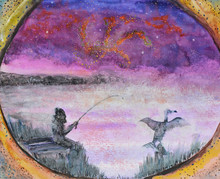 Fishing In The Fog Before The Dawn. A Hand Drawn Image (watercolors) Of A Fisherman And A Black Cormorant In The Fog. The Night Is Darkest Just Before The Dawn