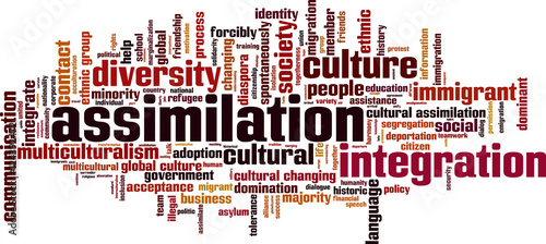 Assimilation word cloud concept. Vector illustration Canvas Print