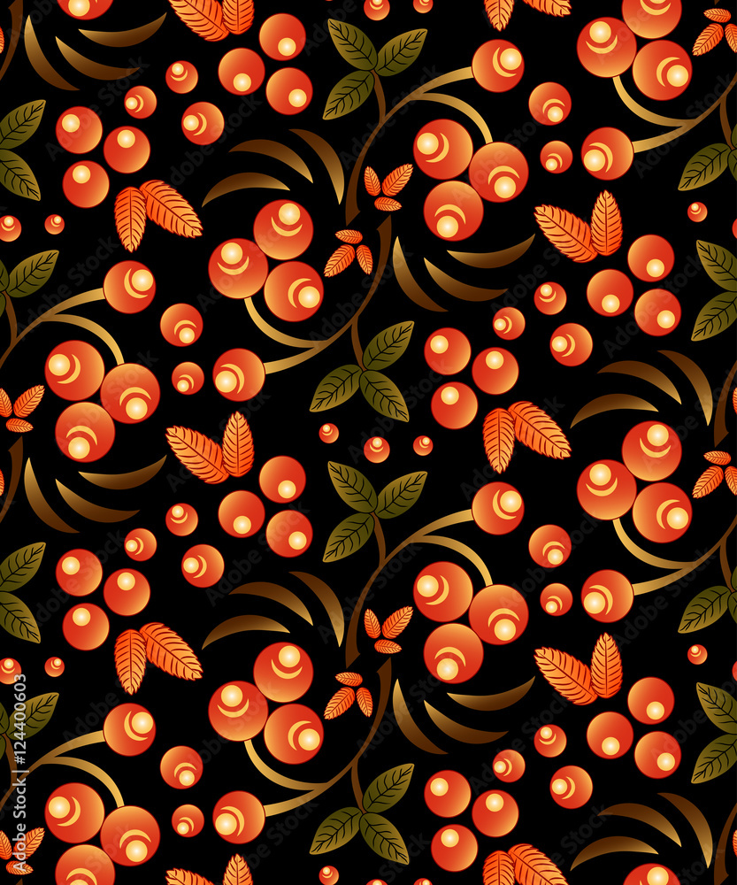 Seamless berry pattern with bunch of orange rowan on black background. Traditional russian Khokhloma ornament