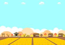 農村の水田と紅葉