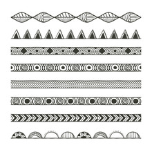 Boho Lines. Bohemic Ornament Indian And Decoration Theme. Black And White Design. Vector Illustration