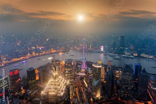 Foto op Aluminium Shanghai Shanghai skyline cityscape, Aerial view of shanghai at Lujiazui