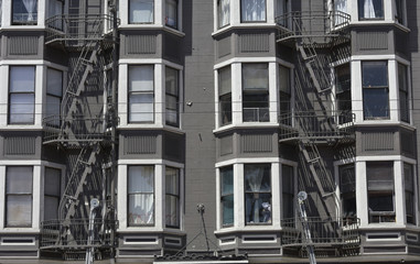 fire escape in  San Francisco , building with windows and emerg