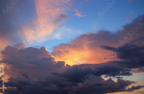 Sunrise. Colorful Sky and Cloud, Beautiful nature sky soft cloud #124410014