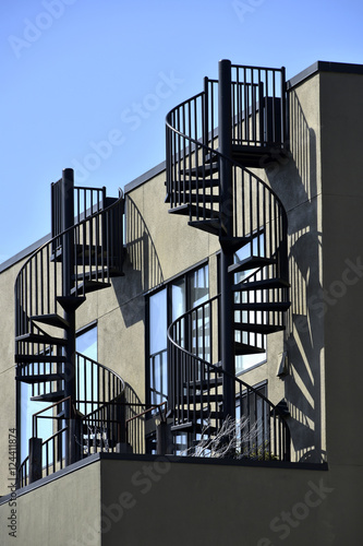 fire escape in  San Francisco , building with windows and emerg Poster