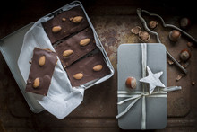 Gingerbead With Rich Chocolate Coating And Almonds In Open Silve