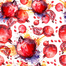 Watercolor, Vintage Pattern - Fruit Ripe Pomegranate.  Seamless Background With Ripe Fruit, Spray, Juice, Paint