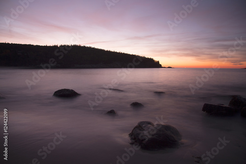 Spoed Fotobehang Aubergine Pre sunrise long exposure of Sand Beach in Acadia National Park
