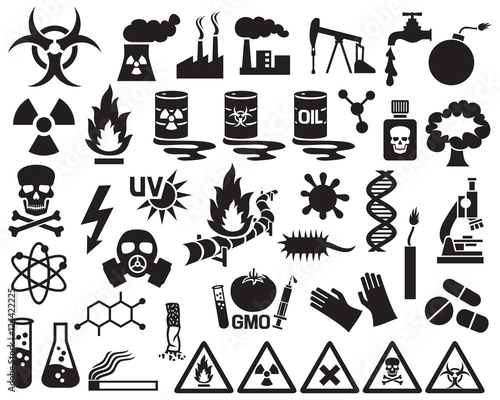 Fotografia hazard, pollution and danger icons set (barrels with nuclear waste, gas mask, ci