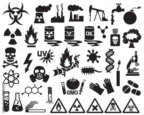 Fotografia, Obraz hazard, pollution and danger icons set (barrels with nuclear waste, gas mask, ci