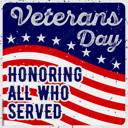 Veterans day greeting card in vintage style