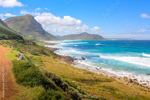 Foto op Plexiglas Zuid Afrika Cape Peninsula scenic drive, South Africa. Misty Cliffs a little village between Kommetjie and Scarborough, famous for the fog in a stormy and windy days.
