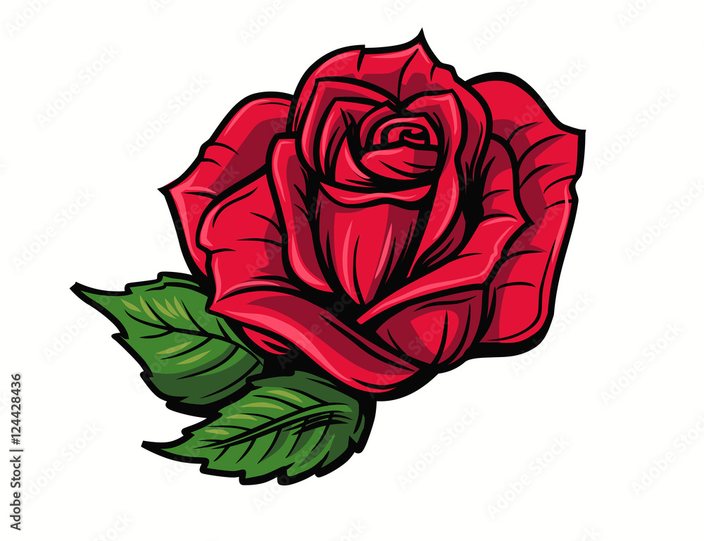 Fototapety, obrazy: Red rose cartoon