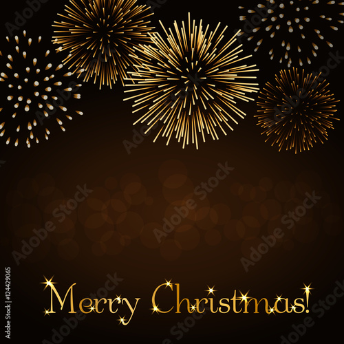 merry christmas background gold abstract firework for card greeting xmas celebrate banner