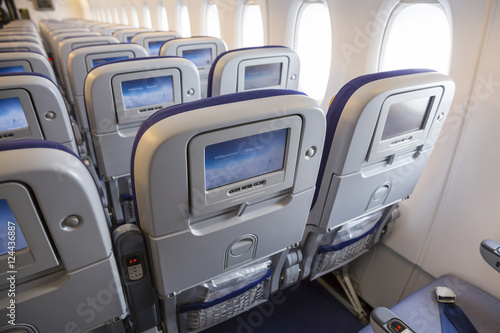 Fotografia  Airbus A380 airplane inside LCD monitors