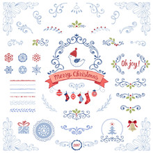 Ornate Christmas Collection. Swirl Elements With Holly Berry, Snowflakes, Christmas Balls, Socks, Bird, Gift Box, Pattern Brushes, Banner And Other Vector Illustrations.