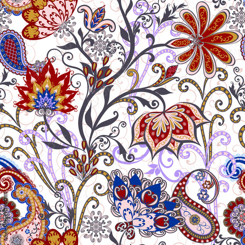 Photo sur Toile Style Boho The pattern of mandalas and Paisley pattern in Indian style.