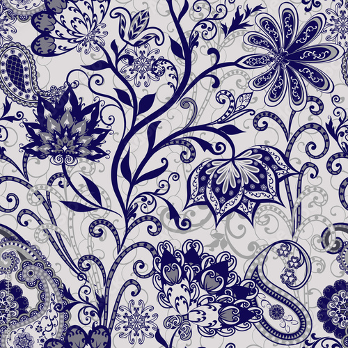 Aluminium Prints Boho Style The pattern of mandalas and Paisley pattern in Indian style.