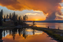 Forest Fire Colouring The Sky Orange Over Yellowstone