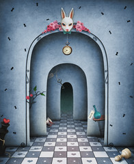 Background for illustration or cover with arches in a large hall with a rabbit's head and chess and other objects