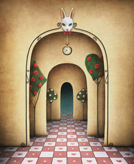 Background for illustration or cover with arches in a large hall with a rabbit's head and chess and other objects.