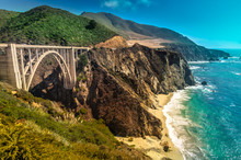 Bixby Creek Bridge On Pacific Coast Highway #1 At The US West Coast Traveling South To Los Angeles, Big Sur Area, California