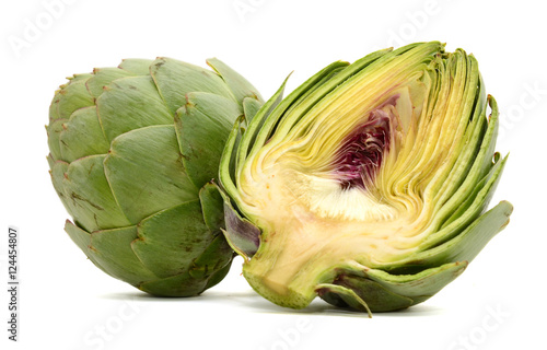 Fresh Artichokes isolated on white background Canvas Print