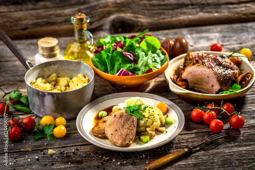 Fotografie, Obraz  Homemade lunch. Meat, pork, potatoes and vegetable