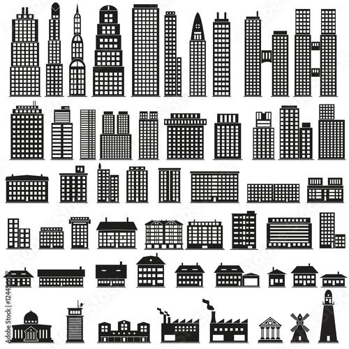 Poster Artificiel Set of buildings