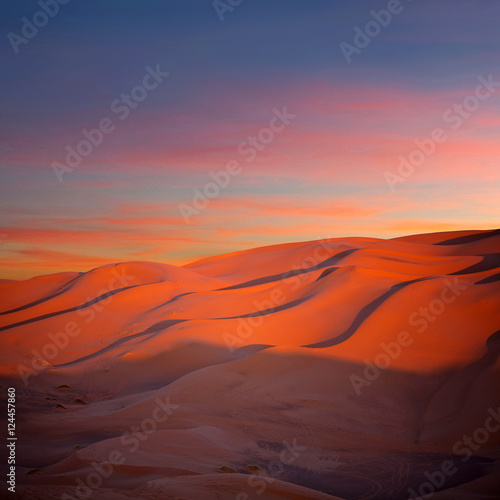 Cadres-photo bureau Rouge Panorama of sand dunes in Sahara desert in Morocco, Africa