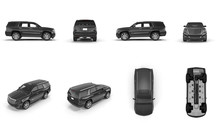 4x4 Suv Car Renders Set From Different Angles On White. 3D Illustration