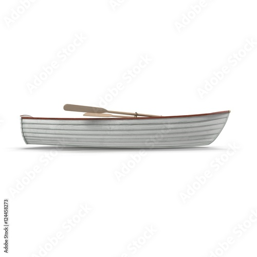 Fotografiet Fishing boat Isolated on white. Side view. 3D illustration