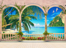 Terrace With Colonnade Overlooking The Tropical Bay. Digital Painting. Imitation Of Oil Painting.