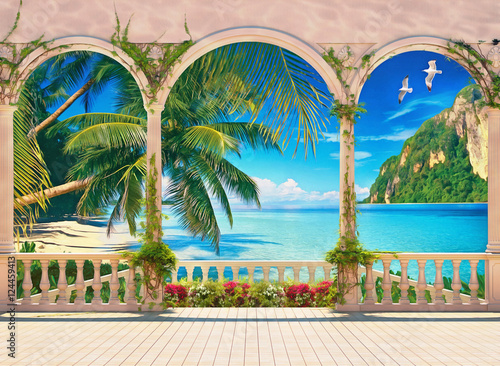 Tableau sur Toile Terrace with colonnade overlooking the tropical bay