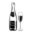 Сhampagne bottle and glass. Vintage vector illustration of alcoholic drink. Bar beverage. Celebration concept. Use for restaurant, cafe menu