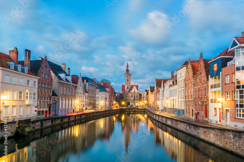 Spiegelrei canal and Jan Van Eyck Square in the morning in Bruges, Belgium