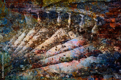 Foto op Plexiglas Fantasie Landschap fantastic staircase, bright multicolored abstract art background
