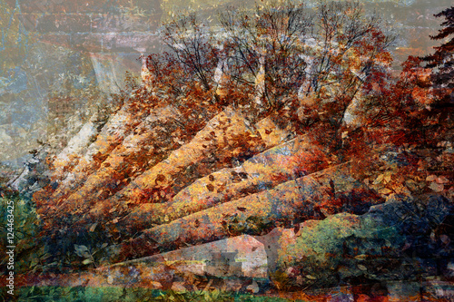 Poster Fantastique Paysage double exposure - stone staircase and a mysterious forest