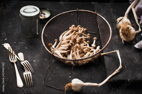 Fotografia, Obraz  Fresh brown clamshell mushrooms in colander with dry bulbs of garlic over black