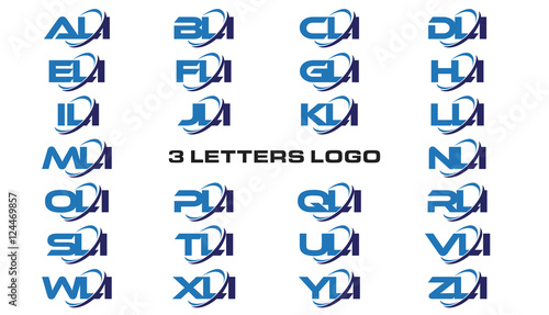 3 letters modern generic swoosh logo ALI, BLI, CLI, DLI, ELI, FLI, GLI, HLI,ILI, Wallpaper Mural